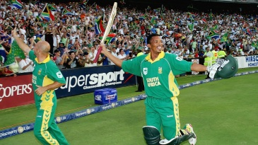 Herschelle Gibbs and Makhaya Ntini, seen in this file photo at the Wanderers Stadium in 2006, have signed in support of Lungi Ngidi and #BLM