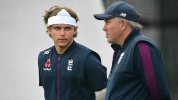 Sam Curran and Chris Silverwood during a practice session