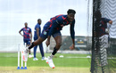 Chemar Holder bowls in the nets before the second Test, Old Trafford, July 14, 2020