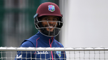 Shai Hope brings out a smile in the nets