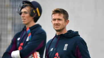 Joe Denly during a practice session with Zak Crawley in the background