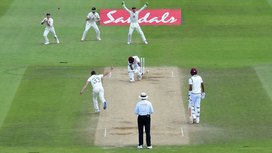 Hope lost his off stump to Mark Wood in Southampton