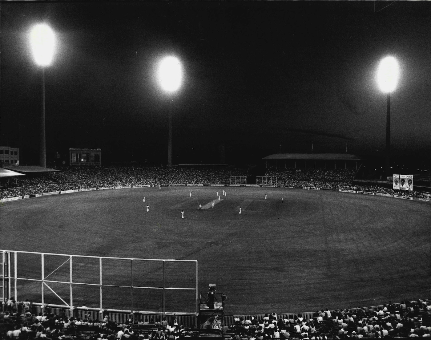 The lights come on at the SCG for the first day-night match, between Australia and West Indies, in November 1978