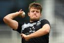 Gloucestershire's Josh Shaw bowls in training, Bristol, July 13, 2020