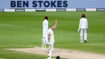 Ben Stokes celebrates his hundred with a gesture to his father