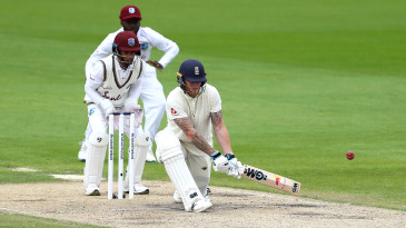 Ben Stokes reserve-sweeps to bring up his hundred