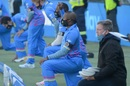 Andile Phehlukwayo and Lungi Ngidi take a knee before the start of the 3TC match, Centurion, July 18, 2020
