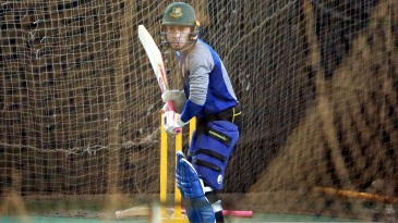 Mushfiqur Rahim bats in the nets at the Shere Bangla National Stadium