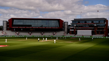 Behind closed doors: Stuart Broad bowls in front of empty stands