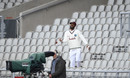 Roston Chase retrieves a ball from the stands after Ben Stokes' six, England v West Indies, 2nd Test, Emirates Old Trafford, 5th day, July 20, 2020