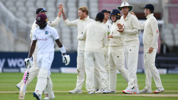 Ben Stokes removed Jermaine Blackwood on the brink of tea