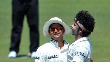 Sreesanth is congratulated by Suresh Raina