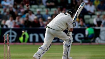 Michael Clarke is bowled by Steve Harmison