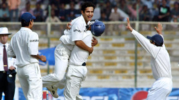 Irfan Pathan celebrates his hat-trick with the dismissal of Mohammad Yousuf