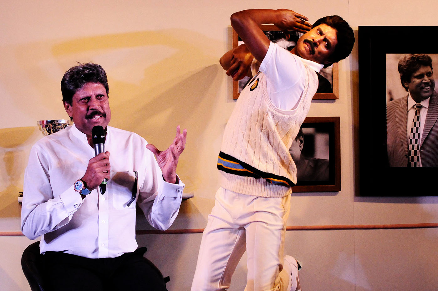 Kapil Dev poses with his wax statue at Madame Tussauds in Delhi