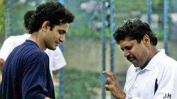 Kapil Dev talks to Irfan Pathan at the National Cricket Academy