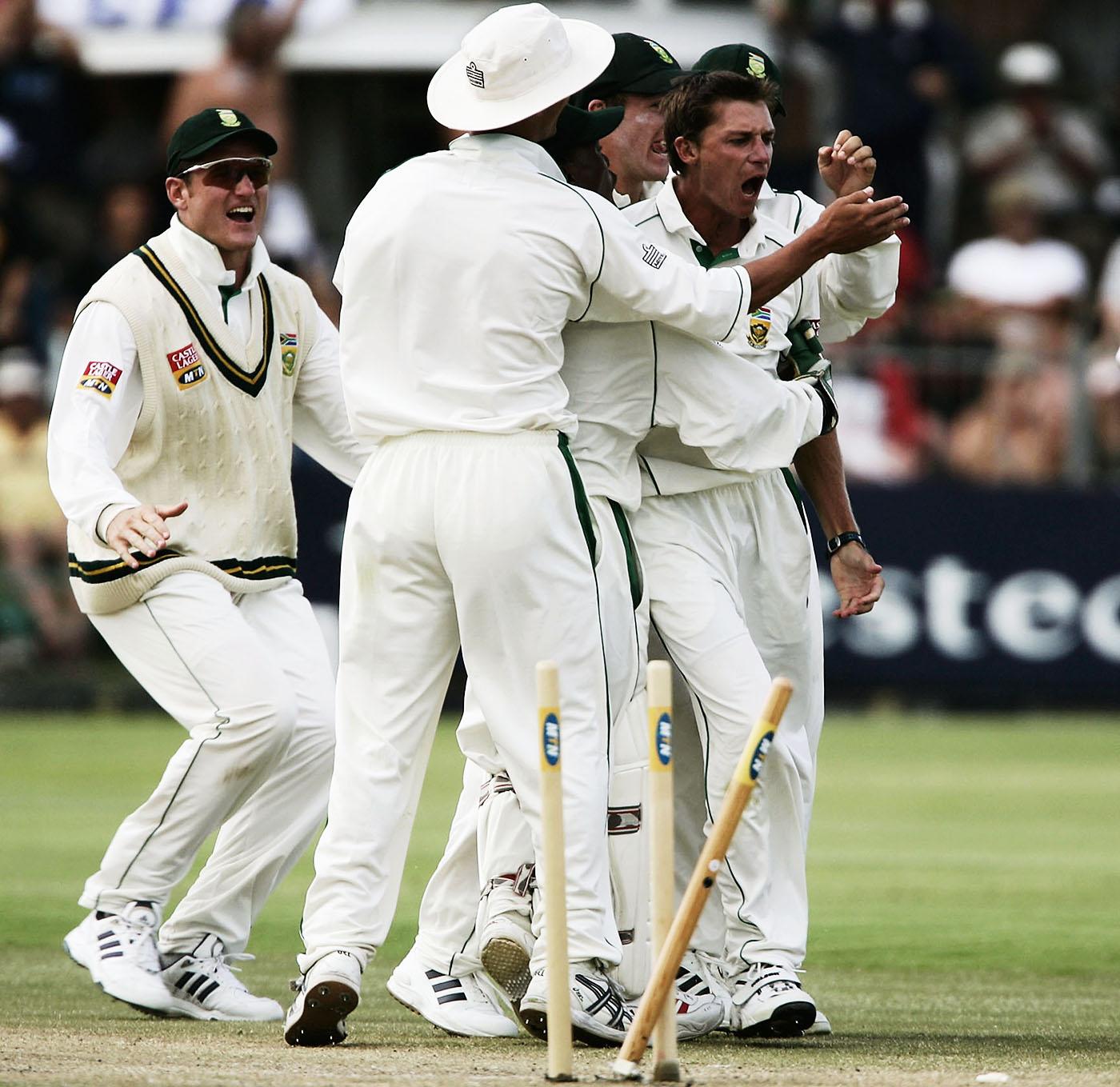 Dale Steyn celebrates his first Test wicket