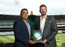 Justin Mohamed with Michael Kasprowicz at the launch of Cricket Australia's reconciliation action plan, Melbourne, December 6, 2019