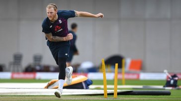 Ben Stokes bowls in the nets before the third Test