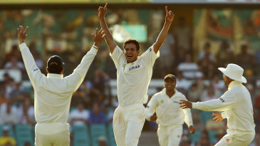 Irfan Pathan is overjoyed after nailing Adam Gilchrist with a perfect yorker