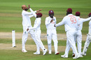 Roston Chase gets a high five, England v West Indies, 3rd Test, Old Trafford, 1st day, July 24, 2020