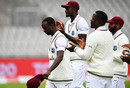 Kemar Roach is applauded by his team-mates as he walks off, England v West Indies, 3rd Test, Emirates Old Trafford, 2nd day, July 25, 2020