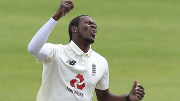 Jofra Archer reacts to a near miss
