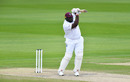 Rahkeem Cornwall punches a drive, England v West Indies, 3rd Test, Emirates Old Trafford, 3rd day, July 26, 2020