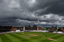 Dark clouds gather above the ground, England v West Indies, 3rd Test, Emirates Old Trafford, 3rd day, July 26, 2020