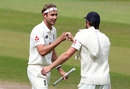 Stuart Broad celebrates England's victory after taking his tenth wicket, England v West Indies, Third Test, Day 5, Emirates Old Trafford, July 28, 2020