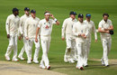 Stuart Broad leads England from the field after their third Test victory, England v West Indies, Third Test, Day 5, Emirates Old Trafford, July 28, 2020