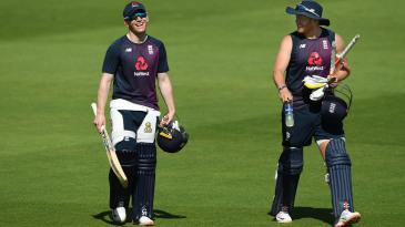Eoin Morgan and Jonny Bairstow head to the nets
