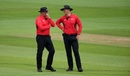 Umpires David Millns and Alex Wharf share a lighter moment, England v Ireland, 2nd ODI, Southampton, August 1, 2020