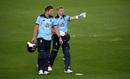 David Willey and Sam Billings walk back after a match-winning stand, England v Ireland, 2nd ODI, Southampton, August 1, 2020