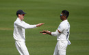 Thilan Walallawita celebrates with Nick Gubbins after taking the wicket of Mark Stoneman, Surrey v Middlesex, Kia Oval, Bob Willis Trophy, August 1, 2020