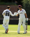 Tom Abell is congratulated by Ben Green after reaching three figures, Somerset v Glamorgan, Taunton, Bob Willis Trophy, August 3, 2020