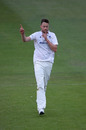 Ollie Robinson celebrates another scalp, Sussex v Hampshire, Day 3, Bob Willis Trophy, Hove, August 3, 2020