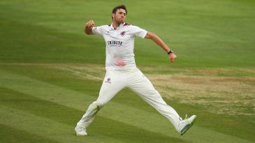 Jamie Overton celebrates a wicket