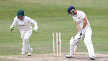 Dane Vilas chops the ball onto his own stumps