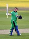 Paul Stirling celebrates reaching his ninth ODI century, England v Ireland, 3rd ODI, Ageas Bowl, August 4, 2020