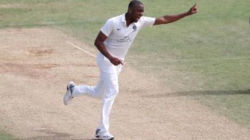 Miguel Cummins celebrates a wicket