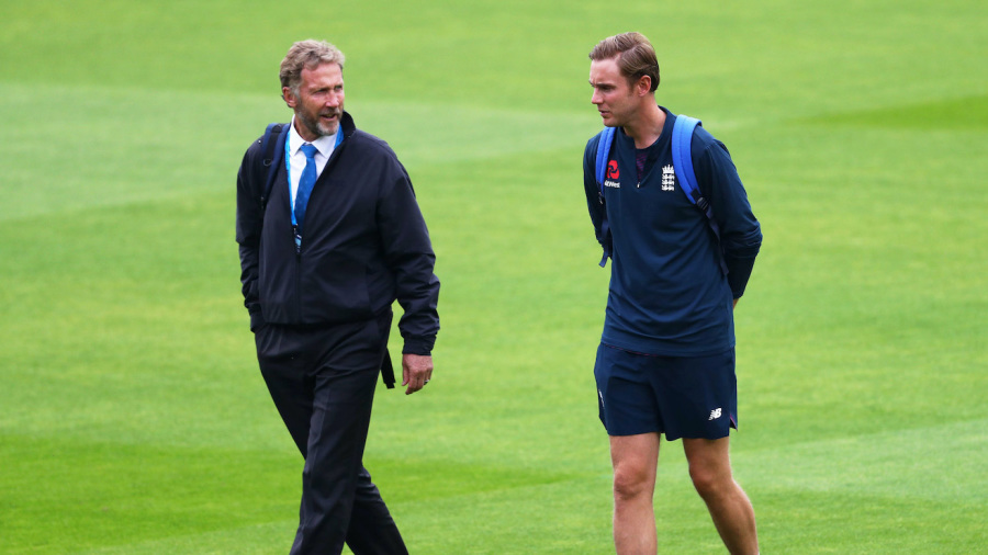 Chris Broad was the match referee for the two Tests his son, Stuart, played against West Indies