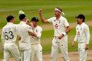 Stuart Broad celebrates the wicket of Asad Shafiq, England v Pakistan, 1st Test, Old Trafford, 2nd day, August 6, 2020
