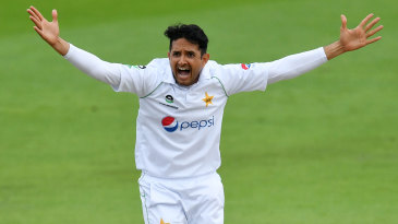 Mohammad Abbas appeals for the lbw of Dom Sibley