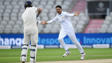 Mohammad Abbas celebrates after bowling Ben Stokes