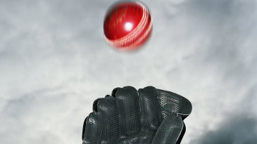 A keeper's hand reaches for the ball