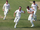 Jack Brooks celebrates with his Somerset team-mates, Northamptonshire v Somerset, Bob Willis Trophy, Day 1, Wantage Road, August 8, 2020