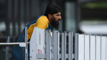 Misbah-ul-Haq watches on from the Pakistan balcony