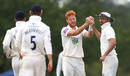 Ryan Stevenson bumps fists with his team-mates, Middlesex v Hampshire, Bob Willis Trophy, 1st day, Radlett, August 8, 2020