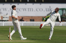 Richard Gleeson is offered a celebratory boot by Dane Vilas, Durham v Lancashire, Bob Willis Trophy, Chester-le-Street, August 8, 2020